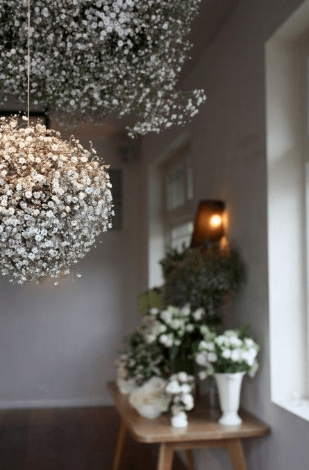 Baby's Breath Arrangements hanging from ceiling